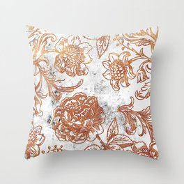 Golden flowers and foliage on white scratched marble Throw Pillow