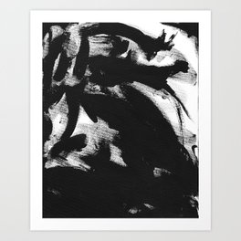 Black Brush Strokes Art Print