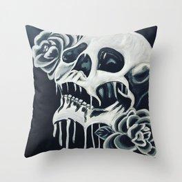 Black and White Skull Throw Pillow