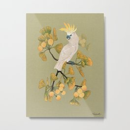 Cockatoo and Ginkgo Tree Metal Print