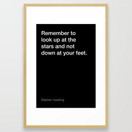 Stephen Hawking quote about stars [Black Edition] Framed Art Print