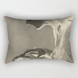 Beauty and the Crystal Ball black and white photograph Rectangular Pillow