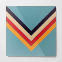 V Shape Colorful Retro Stripes Eopsin Metal Print