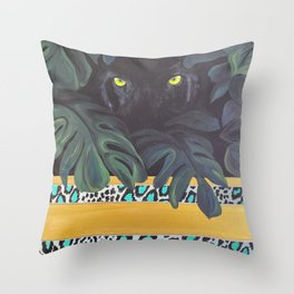 Jaguar Eyes Through the Jungle Throw Pillow