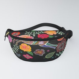 Horse jumping through flowers Fanny Pack