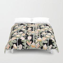 Red Honeysuckle & Mountain Banksias  Duvet Cover