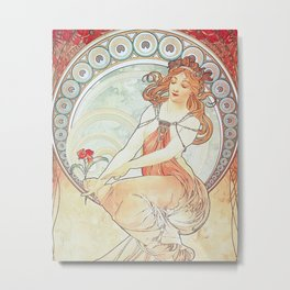 Painting by Alphonse Mucha 1898 // Retro Woman with a Flower Geometric Circle Abstract Metal Print