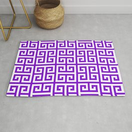 Greek Key (Violet & White Pattern) Rug