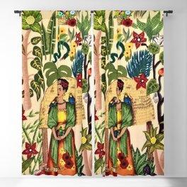 Frida's Garden, Casa Azul Lush Greenery Frida Kahlo Landscape Painting Blackout Curtain