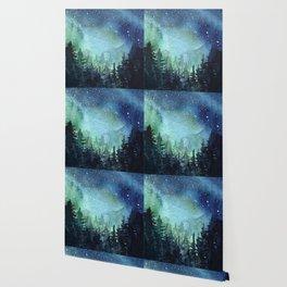 Galaxy Watercolor Aurora Borealis Painting Wallpaper