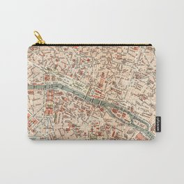 Vintage Map of Paris Carry-All Pouch