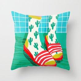 Sliders - memphis throwback retro neon 1980s 80s style pop art shoe fashion grid pattern socks Throw Pillow
