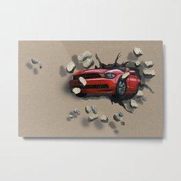 Red Car Crashing Through a Wall Metal Print