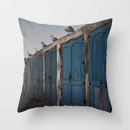 seaguls and doors Throw Pillow
