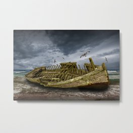Boat Shipwreck on the Beach Shore Metal Print
