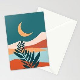 Moonlit Mediterranean / Maximal Mountain Landscape Stationery Cards