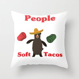 Funny Camping Design People LIke Soft Tacos Throw Pillow