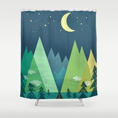 The Long Road at Night Shower Curtain