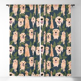 Golden Retrievers and Ferns on Navy Blackout Curtain