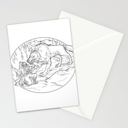 Fenrir Attacking Norse God Odin Drawing Black and White Stationery Cards