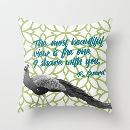 Peacock on Green Most Beautiful View Share with You Throw Pillow