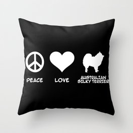 Peace, Love, Australian Silky Terrier Throw Pillow