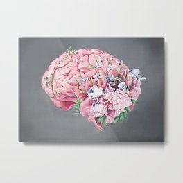 Floral Anatomy Brain Metal Print