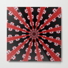 Red Black and White Abstract Metal Print