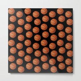 Basketball Pattern-Black Metal Print