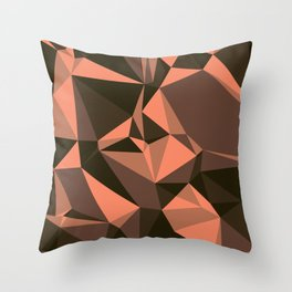Cola, Very Dark Brown, Copper, Sante Fe, Triangles Throw Pillow