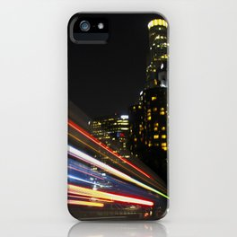 Light trails over Downtown Los Angeles iPhone Case