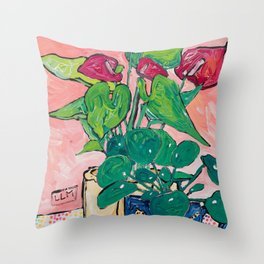 Houseplant Still Life Painting with Cheetah, Pilea, and Anthurium  Throw Pillow