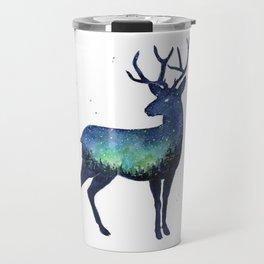 Galaxy Reindeer Silhouette with Northern Lights Travel Mug