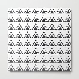 Trendy hand painted black white watercolor triangles zigzag Metal Print