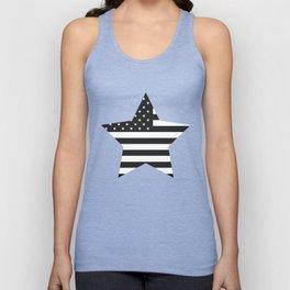 American Flag Stars and Stripes Black White Unisex Tank Top