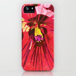 Red Hibiscus Flower Watercolor Portrait iPhone Case