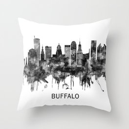 Buffalo New York Skyline BW Throw Pillow