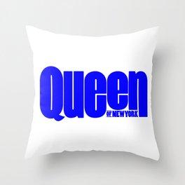 Queen of New York (Blue) Throw Pillow