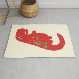 Cute Red T-rex Dinosaur Rug