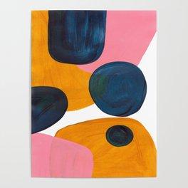 Mid Century Modern Abstract Minimalist Retro Vintage Style Pink Navy Blue Yellow Rollie Pollie Ollie Poster