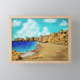 Beach In Albufeira, Portugal by Mike Kraus - seascape beach europe swimming cliffs sky clouds teal Framed Mini Art Print