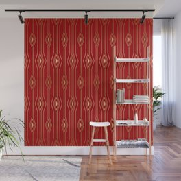 Gold lines and squares pattern on red Wall Mural