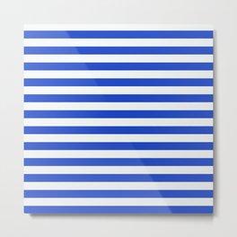 Royal Blue And White Stripes Metal Print