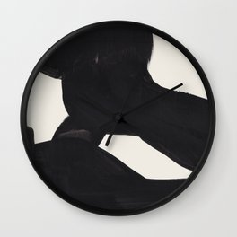 Mid Century Modern Minimalist Abstract Art Brush Strokes Black & White Ink Art Color Field Maze Wall Clock