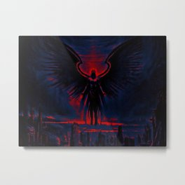 Angelic Guardian Red Blue Metal Print