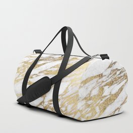 Chic Elegant White and Gold Marble Pattern Duffle Bag