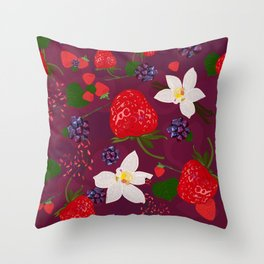 Strawberry, blackberry and vanilla flower. Red berries pattern Throw Pillow