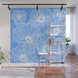 Sky Blue Poppies Wall Mural