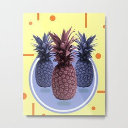 Pineapple Print - Tropical Decor - Botanical Print - Pineapple Wall Art - Yellow, Blue - Minimal Metal Print
