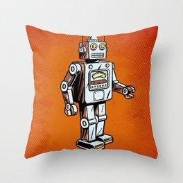 Retro Robot Toy Throw Pillow